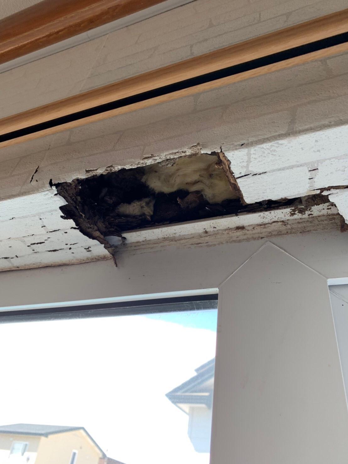 窓上 雨漏り部分